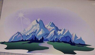 Mountain range #1 decal Camper Rv motorhome mural graphic Decal Art Camper