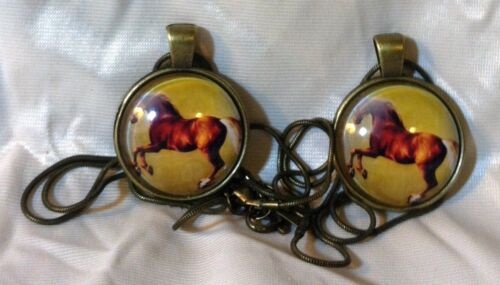 2 GLASS DOME HORSE PENDANTS GEORGE STUBBS Rearing Palomino New but FLAWED Sale*