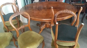 1870's Antique Burr Walnut Oval Table & 6 Walnut Chairs Melbourne CBD Melbourne City Preview