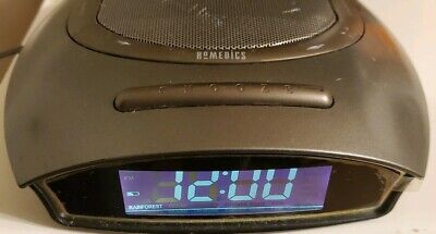 Homedics Soundspa Auto Set Dual Alarm Clock Radio Nature Sounds Time Projection