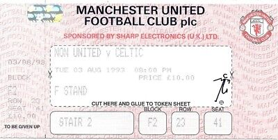 1993/1994 MANCHESTER UNITED V CELTIC - PRE SEASON FRIENDLY MATCH TICKET