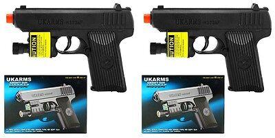 Set Of 2 Black Plastic Airsoft Pistol Handgun Gun w/1000 BBs Laser M333af 160FPS 1000 Airsoft Plastic Bbs
