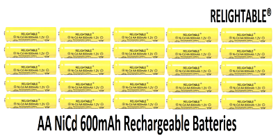 25 pcs Rechargeable NiCd AA 600 mAh Batteries for Solar-Powe