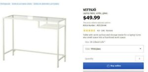 Moving sale: white glass laptop table, maintained well, 1year