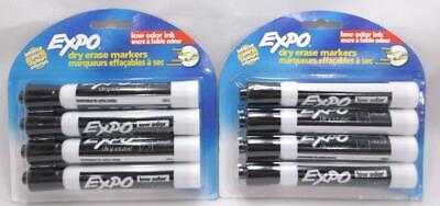8 Expo Dry Erase Markers Low Odor Black Intense Colors Chisel Tip 80661c