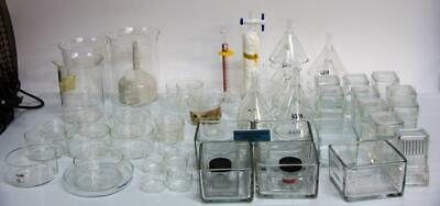 Pyrex Kimax Beakers Funnels Staining Jars Lab Glassware Large Lot 7707 W