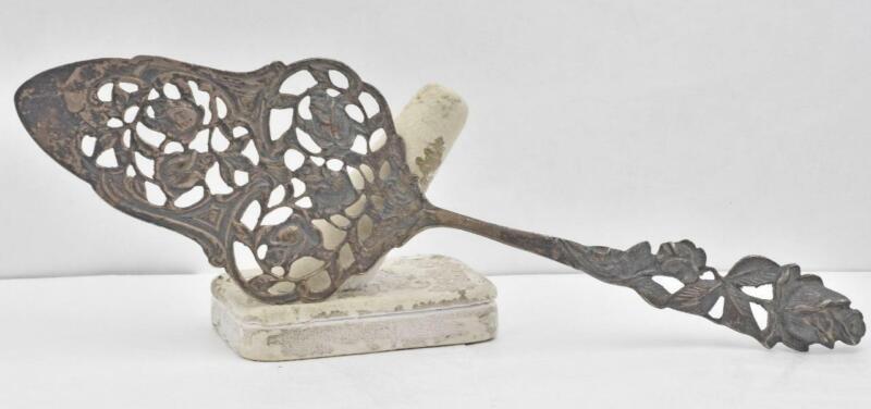 Antique 800-900 Solid Silver CAST flower design Pie or Cake Server Desserts