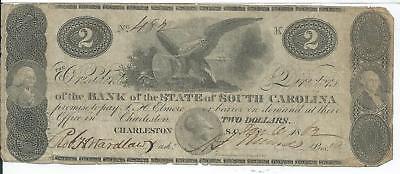 South Carolina State Bank Charleston  2 1862   482 Eagle Shield Csa Civil War