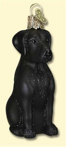 BLACK LABRADOR OLD WORLD CHRISTMAS BLACK LAB RETRIEVER GLASS DOG ORNAMENT 12385