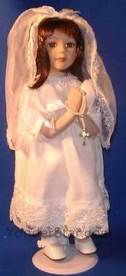 First Holy Communion Gift Communion Doll w Rosary on Stand Brunette 40340
