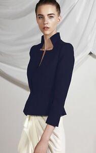 CARLA ZAMPATTI Navy Floral Lace Brocade Structured Jacket sz 6-8 RRP $895