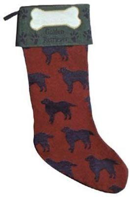 Golden Retreiver Tapestry Christmas Stocking for Dog ()