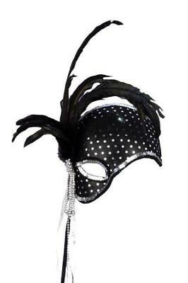 Black Mystique Venetian Masquerade Mask with Feathers