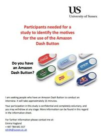 Recruiting Amazon Dash Button Users for 15min interview
