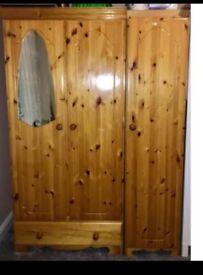 Solid double wooden wardrobe & Single shelf unit