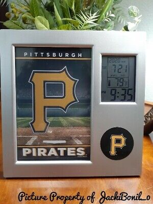 MLB Official Pittsburgh PIRATES Desk Clock Thermometer Alarm Picture Frame NIB