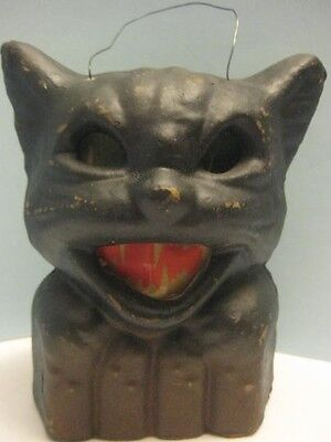 Contemporary Halloween Scary Black Cat on Fence Candle Lantern