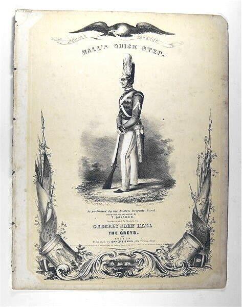 Original 1840 Military Sheet Music HALLS QUICK STEP  T Bricher Thayer Lithograph