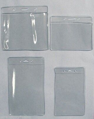 25 Clear Badge Id Holder Horizontal Or Vertical 4 Sizes U-pick Ok To Mix