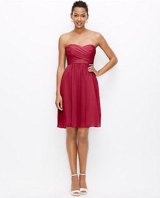 Ann Taylor Silk Georgette Strapless Dress Sz 4 Dark Ruby (Ruby Silk Bridesmaid Dress)