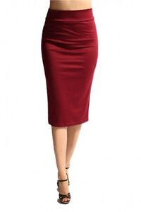 Sexy Straight Ponte Knit Pencil Stretch Bodycon Slim Skirt Knee Length Bandwaist