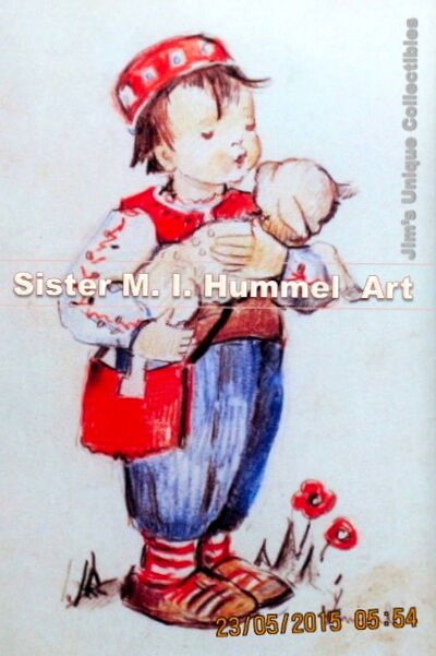 "RARE! M. I. HUMMEL ART PRINT 4"" x 6"" COPY, ""GOOD SHEPHERD, SERBIAN"", WITH FOLDER"
