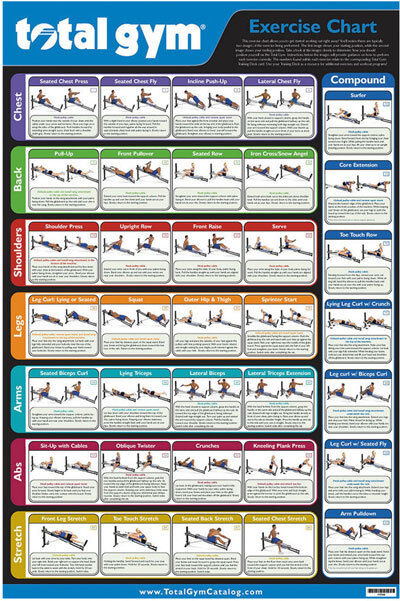 Mint Condition Laminated Total Gym Exercise Chart 30
