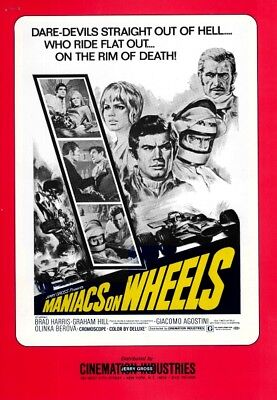 MANIACS ON WHEELS pressbook, Brad Harris, Graham Hill, DRAG RACE CAR, RACING