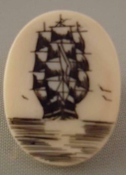 Vintage Scrimshaw Carved Pin Brooch Tie Tack Hat Sailing Ship Faux Handmade