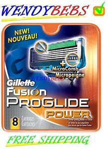 8 NEW GENUINE GILLETTE FUSION PROGLIDE POWER SHAVING RAZOR CARTRIDGES BLADES