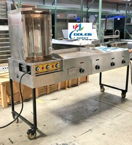 "New 85"" Combo Gas Griddle Rotisserie Shawarma Catering Taco Cart Commercial Use"