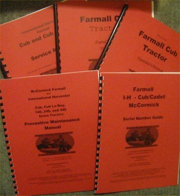 Farmall Cub Operator Parts And Service Manuals Set Of 5 With Free Serial Guide