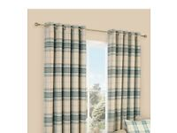 LAMEGO DUCK EGG & CREAM TARTAN BRUSHED EYELET LINED CURTAINS (W)167 CM (L)228 CM can deliver