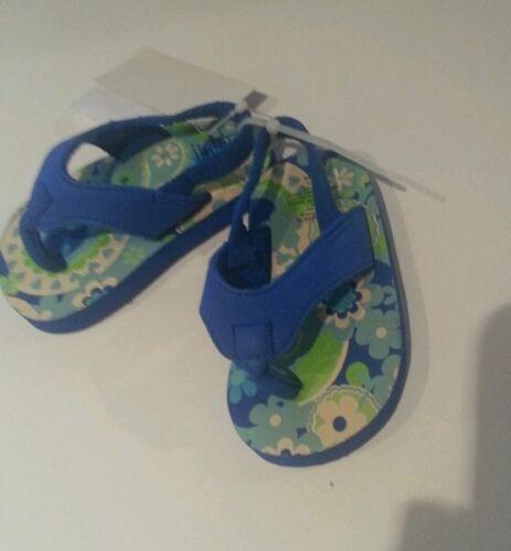 Infant Girls Koala Brand Blue & Green flip flop elastic heel
