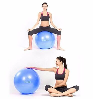 Fitness and Yoga Blue Anti-Burst Yoga Exercise Ball with Foot Pump-65CM