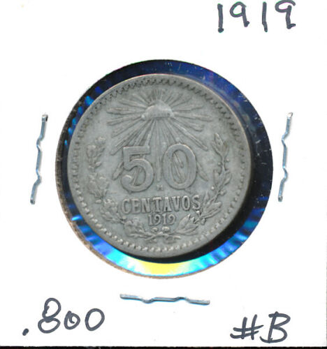 MEXICO  - 50 CENTAVO - SILVER - 1919 BETTER DATE #B