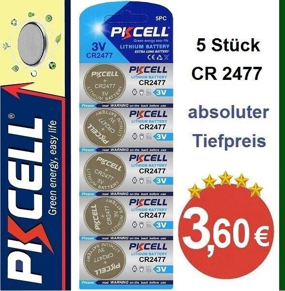 CR2477 Lithium 3VKnopfzellen im Blister 5 Stück