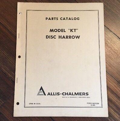 Allis Chalmers Model Kt Disc Harrow Original Dealers Parts Catalog 1969