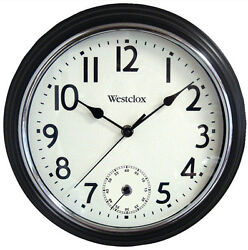 Westclox 12 Two Movement Black Wall Clock Quartz Analog