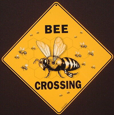 BEE CROSSING SIGN aluminum decor hive apiary honey painting picture home novelty