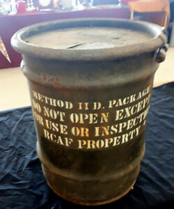 Vintage Royal Canadian Air Force Reusable Steel Shipping Barrel