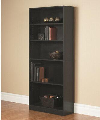 Black 72 Standard Bookcase 5 Adjustable Shelf Home Office Wooden Bookshelf ()