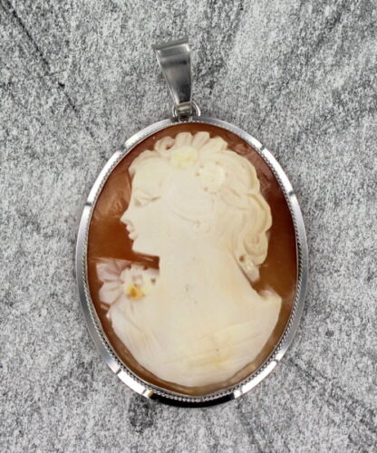 Antique Shell Cameo Carved Pendant in Sterling Silver