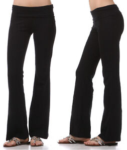 YOGA-Pants-Basic-Long-Fitness-Foldover-Womens-Zenana-Cotton-Spandex-Workout