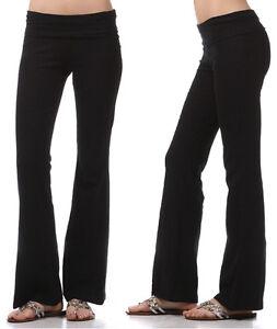 YOGA-Pants-Basic-Long-Fitness-Foldover-Waist-Plain-Womens-Workout-Gym-Zenana