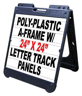 24x 24 Signicade Plastic Sidewalk Changeable Letters Message Sign Black