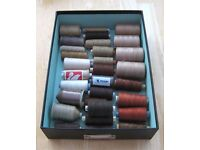 30x SEWING COTTON THREADS SPOOLS £8 the lot - Terracotta, Brown, Beige, Cream