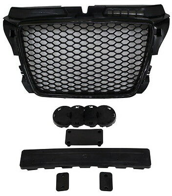 AUDI A3 8P 2008-2013 BLACK HONEYCOMB DEBADGED SPORTS RS STYLE GRILL BADGE HOLDER