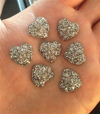 DIY NEW 20PCS Grey Resin Heart flatback Scrapbooking for phone/wedding/craft