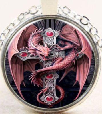 Vintage Red Dragon & Celtic Cross Silver Cabochon Pendant Necklace USA SELLER Celtic Cross Dragon Pendant